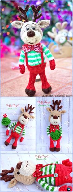 Crochet Amigurumi Christmas Deer Free Pattern - Crochet Amigurumi Deer Toy Softies Free Patterns