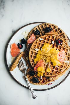 Teff Waffles with Raw Chia Marmalade (Gluten Free, Dairy Free) - Will Frolic for Food
