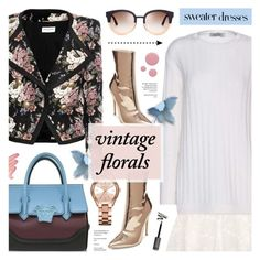 """Sweater Dress & Vintage Floral Jacket"" by anyasdesigns ❤ liked on Polyvore featuring Yves Saint Laurent, Valentino, Versace, Steve Madden, Tory Burch, Michael Kors, Deborah Lippmann, Lime Crime and vintage"
