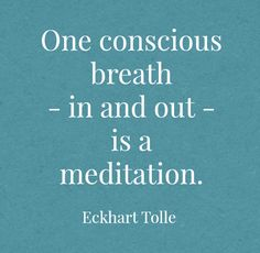 One conscious breath - in and out - is a meditation ~Eckhart Tolle