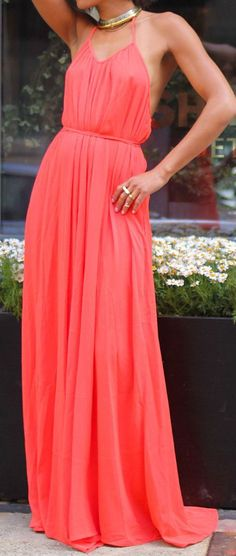 Coral Open Back Maxi Dress