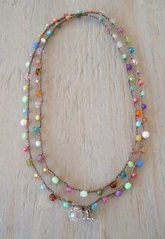 Colorful crochet wrap bracelet necklace Lil' RainBow por slashKnots