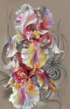 Beautiful Fantastic Realistic Flowers Mixed Media by Oksana Gatalskaya Realistic Flower Drawing, Colored Pencil Artwork, Fabric Paint Designs, Flower Artists, Cross Stitch Art, Iris Flowers, Abstract Flowers, Pretty Art, Fabric Painting