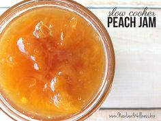 Slow Cooker Peach Jam Recipe. Only four ingredients and so delicious. Perfect recipe for beginners!