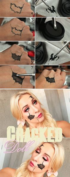Halloween – Make-up Make-up und Co. # Make-up # Make-up - schminken Looks Halloween, Halloween 2018, Scary Halloween, Creepy Doll Halloween Costume, Diy Doll Costume, Doll Make Up Halloween, Broken Doll Costume, Make Up Tutorials, Makeup Tutorial For Beginners