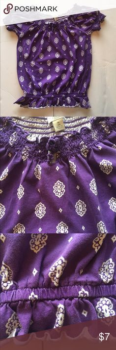Girls peasant top size M 7/8 Purple and white short sleeve peasant style top. Gently worn, good condition. Some wash wear. Size M 7/8 Children's Place Shirts & Tops Blouses