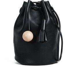 Building Block Bucket Bag (1.895 RON) ❤ liked on Polyvore featuring bags, handbags, shoulder bags, black, fringe handbag, color block handbags, drawstring shoulder bag, bucket bags and color block purses