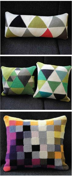 crochet pillows    Graphic color blocking. Love when traditional craft is applied to modern design! @Megan Ward Ward Ward Ward Ward Ward Ward Freeman This screams you!