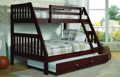 Modern Twin/Full Bunk Bed with Trundle