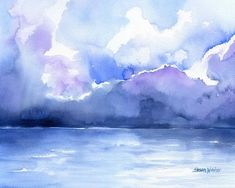 Abstract Seascape/ Landscape watercolor giclée reproduction. Landscape/horizontal orientation. Printed on fine art paper using archival pigment inks. This quality printing allows over 100 years of viv