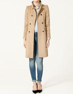Zara High Collar Double Breasted Coat