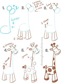 DRAW A GIRAFFE WITH A LOWERCASE LETTER d SHAPE