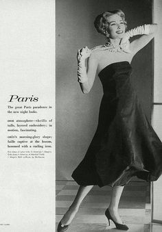 Jessica Ford, photo by Henry Clarke, Vogue March 1958 Madame Gres, Fashion Background, View Image, Fashion Photo, Black Backgrounds, Strapless Dress, Ford, Ballet Skirt, Vogue