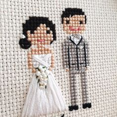 "227 Likes, 20 Comments - Custom Cross Stitch Portraits (@clothandtwig) on Instagram: ""Wedding Wednesday!  -- This portrait is part of something new to the shop. Debuting next week! --…"""
