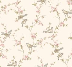 Callaway Cottage CT0866 Floral Branches W/Birds Wallpaper - indoorwallpaper.com