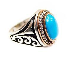 925 Sterling Silver Men's Ring Handmade Turquoise Stone | eBay