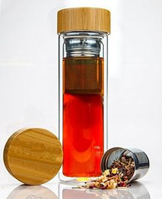 Tea Infuser Bottle by IBCE - Double-wall Glass Tea Tumbler with Stainless Steel Tea Filter and Bamboo Lid - http://teacoffeestore.com/tea-infuser-bottle-by-ibce-double-wall-glass-tea-tumbler-with-stainless-steel-tea-filter-and-bamboo-lid/