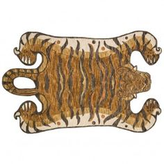 Decorate wild with the Feroz Collection, designed by Justina Blakeney for Loloi. Hooked of wool pile by artisans in India, this contemporary faux-tiger series makes for a true conversation piece in any space. Tiger Rug, Justina Blakeney, Modern Bohemian, Animal Design, Home Decor Accessories, Habitats, Moose Art, Area Rugs, Artisan