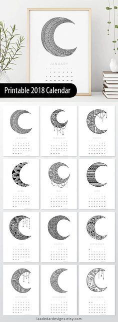 2018 Printable Calendar - Size: A4 (210 x 297mm) 100% of the sale of this calendar will be donated to the Starlight Australia, a charity close to my heart. This listing is for a digital file INSTANT DOWNLOAD of this artwork - No physical item will be sent **This design is 100%