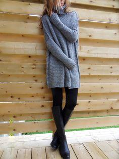 Oversized , Chunky knit sweater. Slouchy/ Bulky/ loose fit sweater. Grey knit sweater.