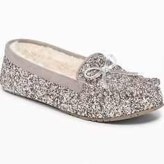 001635244cbae5 Old Navy Womens Sherpa-Lined Glitter Moccasin Slippers For Women Silver  Glitter Size 9