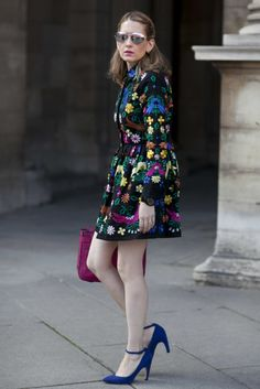 Très Chic! The Best Street Snaps at Paris Fashion Week: An all-black look isn't just for New York City — it looks equally chic in Paris. : Melissa Liebling-Goldberg, POPSUGAR's fashion and beauty director, opted for a bold ASOS dress accented with colorful extras and mirrored Cynthia Rowley shades.