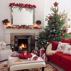 Cherry Flowers Around Fireplace Red Sofa And X Mas Tree