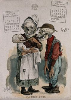 East Urban Home 'Death Pinching Every Penny' Graphic Art Print on Canvas Size: H x W x D Canvas Wall Art, Canvas Prints, Vintage Calendar, First Tooth, Skull And Bones, Gravure, Memento Mori, Skull Art, Vintage Halloween