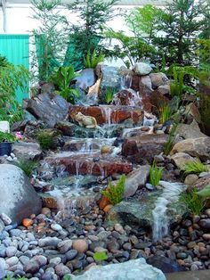 45 Best Diy Garden Pond Waterfall Ideas You are in the right place about diy garden landscaping idea Diy Waterfall, Waterfall Design, Garden Waterfall, Diy Garden, Garden Pond, Water Garden, Backyard Water Feature, Ponds Backyard, Backyard Waterfalls