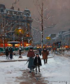 Edouard-Leon Cortes (French, 1882-1969). Winter Parisienne Street Scene in Winter.