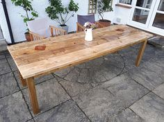 Chunky Farmhouse Style Rustic Table made from Reclaimed Timber & Scaffold Boards Pallet Patio Furniture, Reclaimed Furniture, Reclaimed Timber, Pallet Tables, Steel Coffee Table, Rustic Coffee Tables, Rustic Table, Farmhouse Style Table, Scaffold Boards