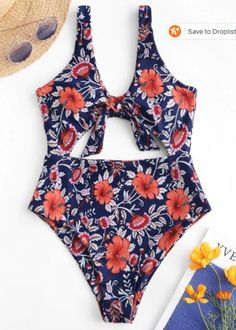 [Sold] Never Worn Tied Floral Swimsuit on Mercari Orange Swimsuit, Floral Swimsuit, Swimwear Sale, Swimwear Fashion, Blue Summer Dresses, Suits For Sale, Women's One Piece Swimsuits, Pop Fashion, Trendy Fashion