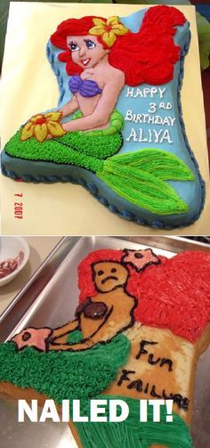 23 Ideas funny disney fails nailed it Disney Fails, Pin Fails, Funny Fails, Little Mermaid Cakes, The Little Mermaid, Fail Blog, Baking Fails, Fail Nails, Food Fails