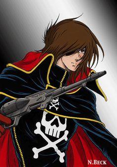 Captain Harlock and his trusty Cosmo-Dragoon Manga Anime, Sci Fi Anime, Old Anime, Space Pirate Captain Harlock, Ulysse 31, Captain My Captain, Star Blazers, Fantasy Heroes, Japanese Cartoon