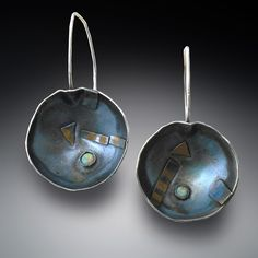 """Contemporary Jewelry - """"earrings: silver and 22K gold opal"""" (Original Art from Patricia McCleery)"""