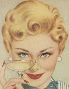 Vintage Happy Housewife with her secret coping mechanism for the hectic holidays. Vintage Pin Ups, Photo Vintage, Vintage Ads, Retro Images, Vintage Pictures, Vintage Images, Art Pop, American Retro, Art Sur Toile