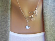 Bird and branch necklace - $20 on Etsy. Elegant, simple, classic. Love
