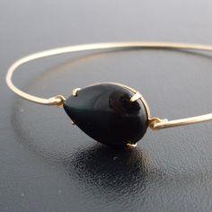 Bangle Bracelet Alexandra - Gold Tone, Black Stone. $13.95, via Etsy.