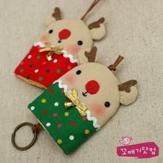 Rudolf y Sra. Key Crafts, Diy And Crafts, Crafts For Kids, Key Bag, Key Pouch, Key Projects, Sewing Projects, Key Covers, All Craft
