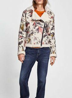 d4ce491d ZARA Womens Jacket ECRU ARTY FAUX SUEDE PRINTED JACKET Uk Large #fashion  #clothing #