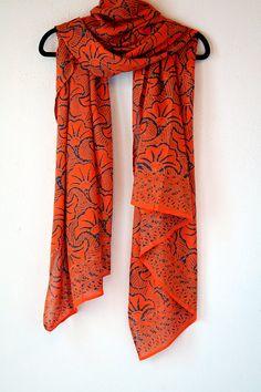 Orange Gingko Leaf Chiffon Scarf  Batik Scarf  Long by PuaWear, $39.00