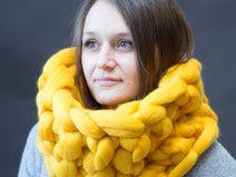 Wolle Schal, Hals, yellow