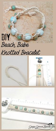 DIY Macrame Beach Stone Bracelet This knotted hemp bracelet uses backward and forward half hitch macrame knots, making this a very easy project. Find the tutorial for the DIY Macrame Beach Stone Bracelet from Jesse James Beads here. For more macrame...