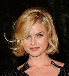 Here is a short blonde curly bob haircut from Alice Eve. Sweet and simple is the main aim for this hairstyle. Only subtle layers are cut through the edges for a low-fuss look and feel.