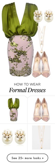 """Green Sequin Formal Engagement Dress with Nude Pumps and Pearl Earrings"" by danihope on Polyvore featuring Mawi, Semilla and Full Tilt"