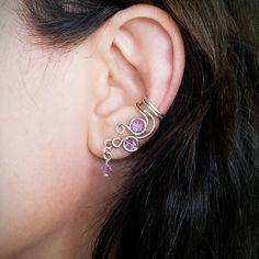 Silver Ear Cuff Purple Violet Swarovski Crystal Sparkle Silver plated Ear Wrap
