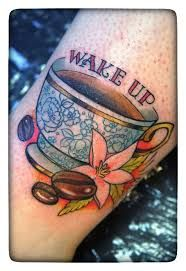 coffee cup tattoo. I love this, just minus the words and flowers and maybe a different color cup!