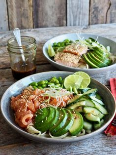 Teriyaki-nudler med laks Edamame, Tex Mex, Fresh Rolls, Nom Nom, Seafood, Food And Drink, Yummy Food, Ethnic Recipes, Drinks
