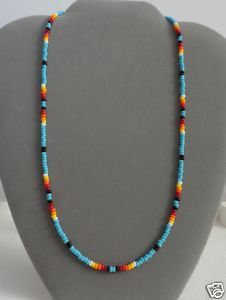 Blue Turquoise Beaded Necklace Native American Made opt