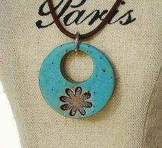 Ceramic Pendant Turquoise Green with brown daisy by Artgirl56